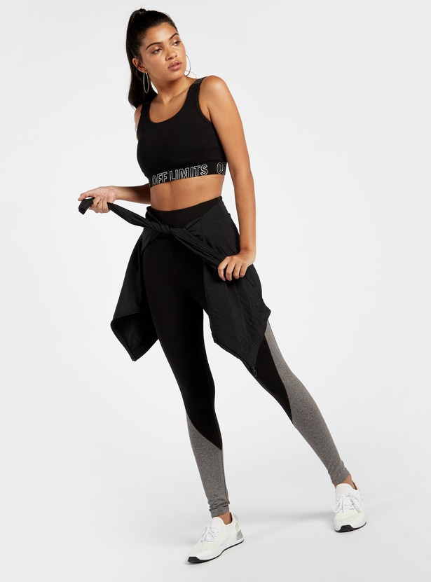 Panelled Full Length High-Rise Leggings with Elasticated Waistband