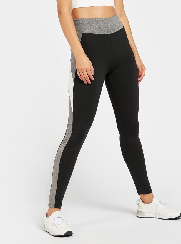 Colour Block Full Length Leggings with Elasticised Waistband