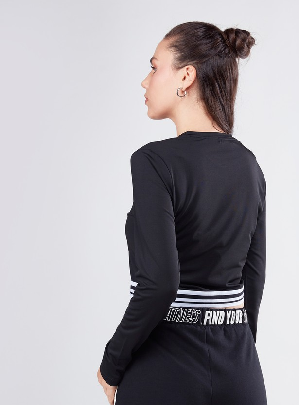 Slim Fit Printed Crop Top with Round Neck and Long Sleeves