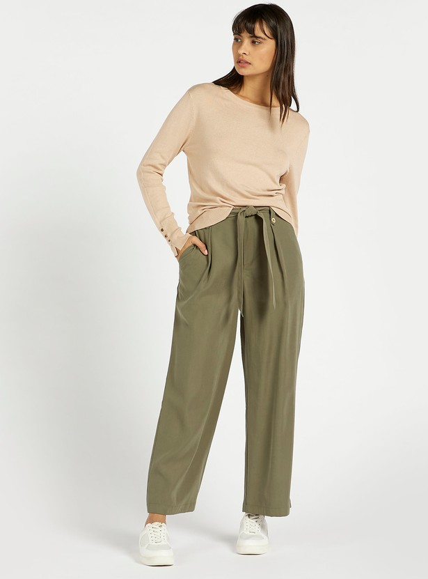 Solid Palazzos with Tie-Ups and Pockets