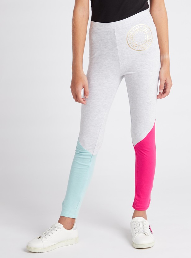 Full Length Colour Block Leggings with Elasticised Waistband