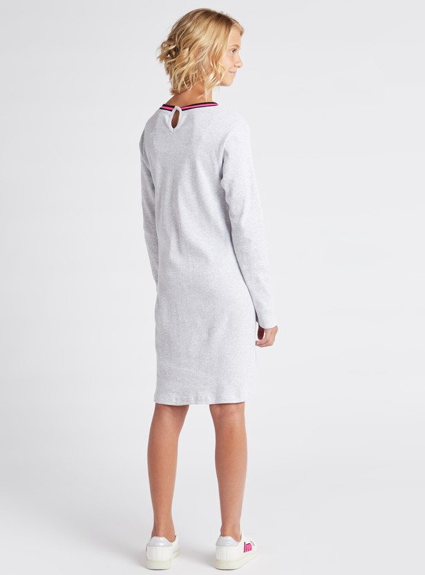 Printed Knee Length Boucle Rib Dress with Round Neck and Long Sleeves