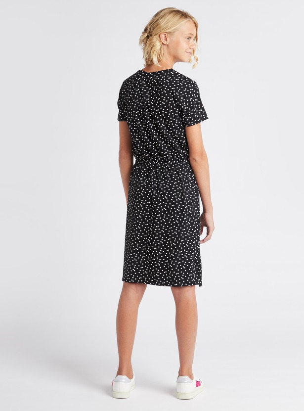 Printed Knee Length Dress with Short Sleeves and Tie Ups