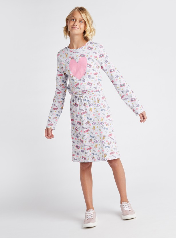 All-Over Print Knee Length Dress with Round Neck and Long Sleeves