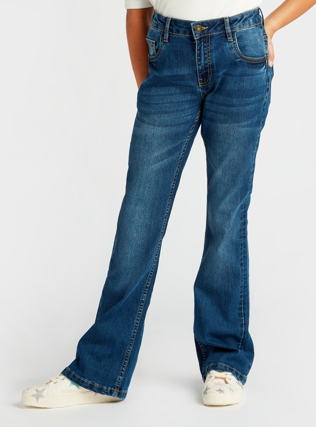 Flared Full Length Jeans with Pockets and Button Closure