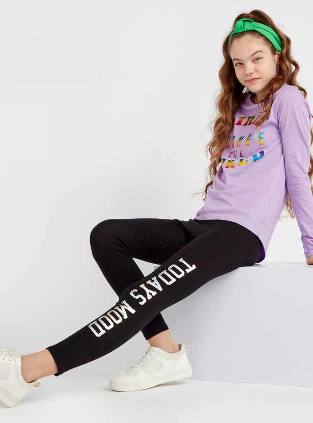 Ankle Length Typographic Print Leggings with Elasticised Waistband