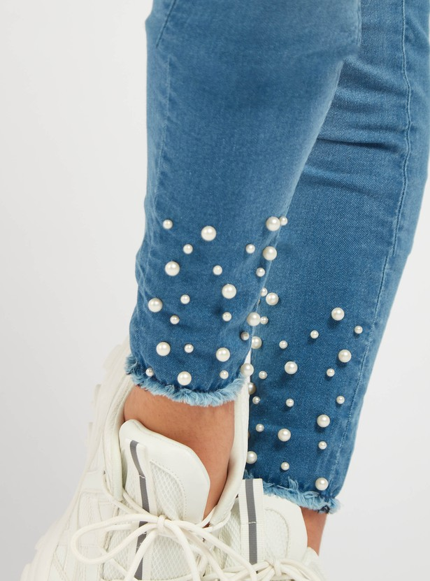 Pearl Embellished Ankle Length Jeggings with Elasticated Waistband