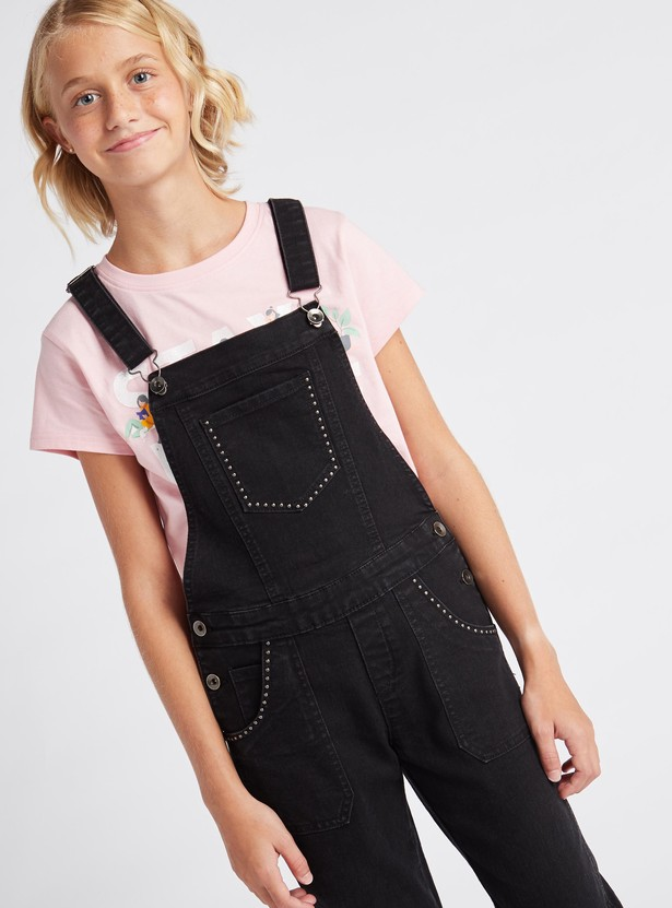 Solid Full Length Dungaree with Pockets