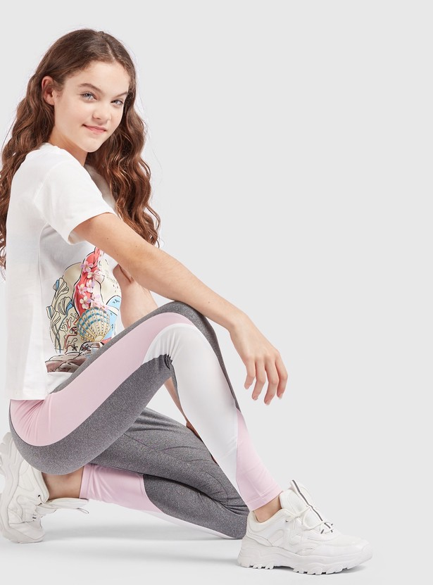 Slim Fit Solid Leggings with Panel Detail and Elasticised Waistband