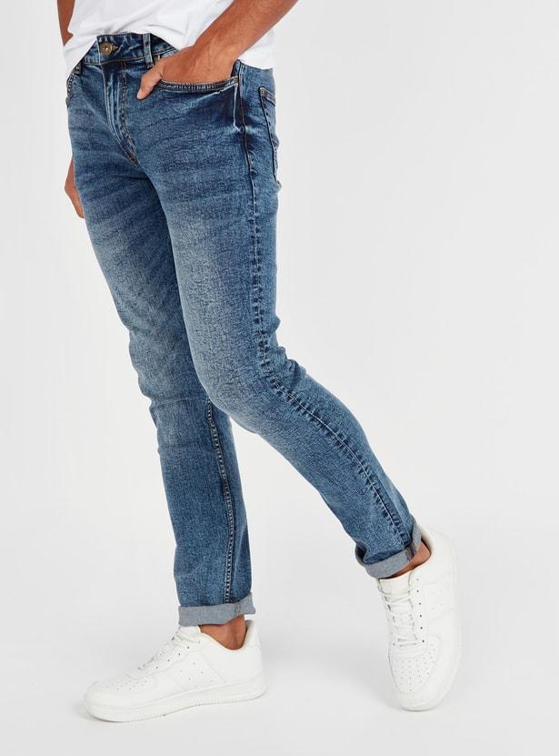 بنطلون جينز طويل سليم بخصر متوسط الارتفاع وجيوب