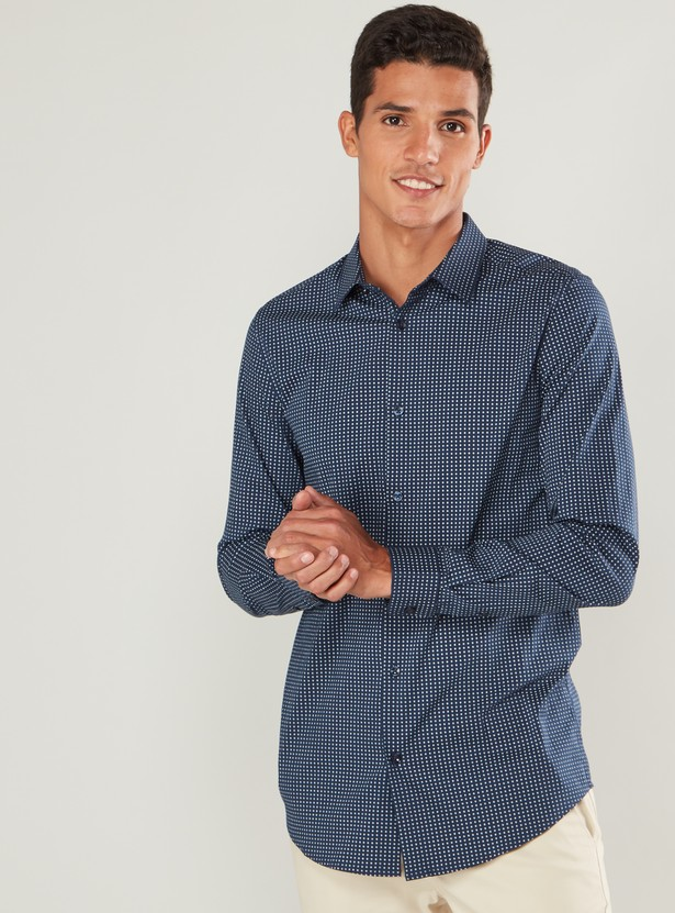 Slim Fit Printed Formal Shirt with Spread Collar and Long Sleeves