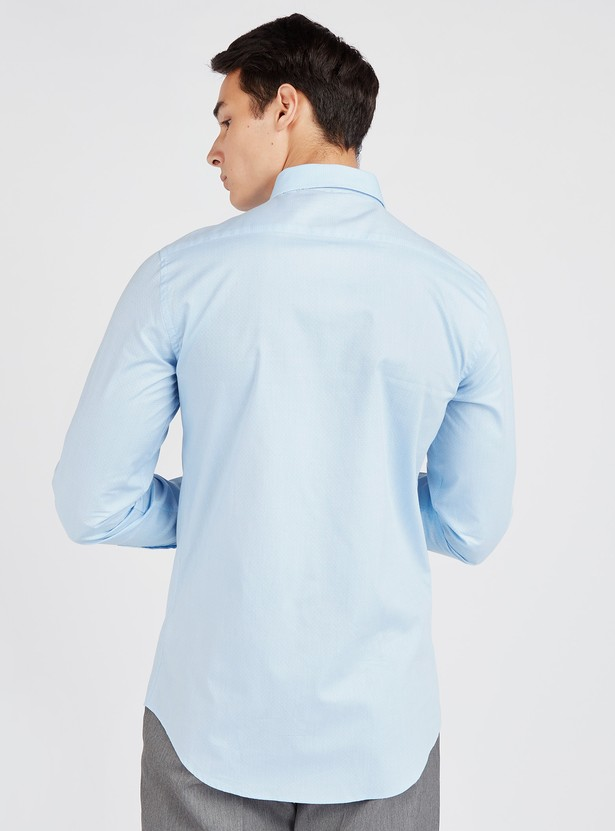 Slim Fit Solid Shirt with Long Sleeves