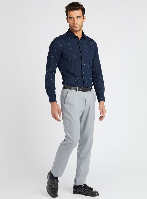 All-Over Dot Print Formal Shirt with Long Sleeves and Spread Collar