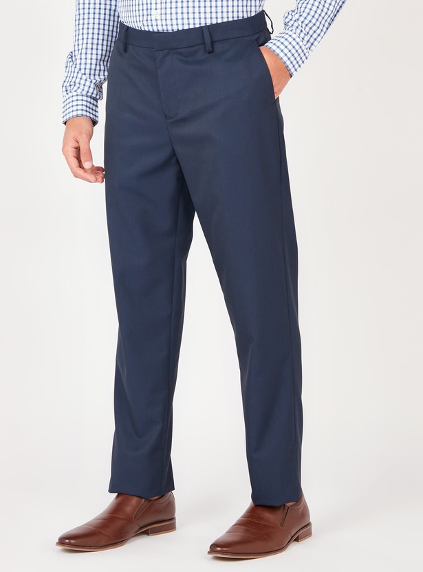 Full Length Solid Formal Trousers with Pocket Detail and Belt Loops