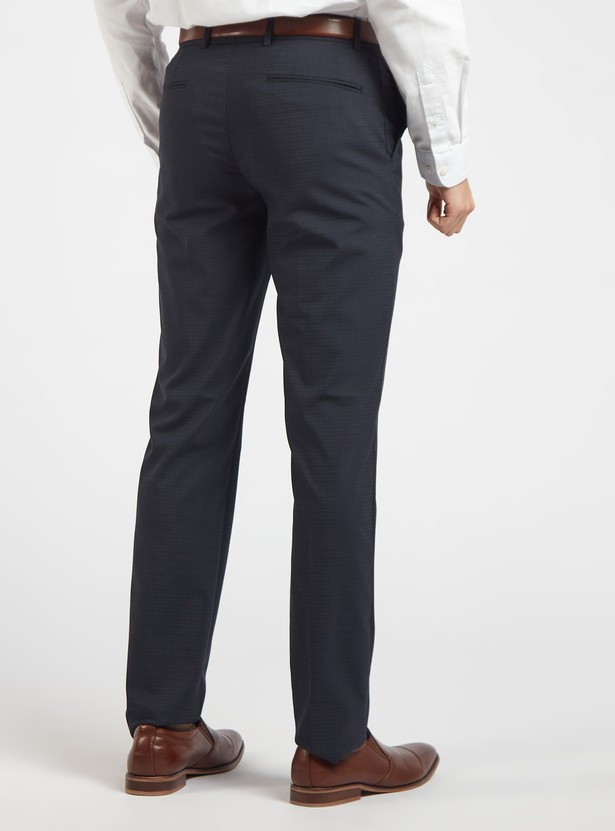Slim Fit Checked Formal Trousers with Pocket Detail