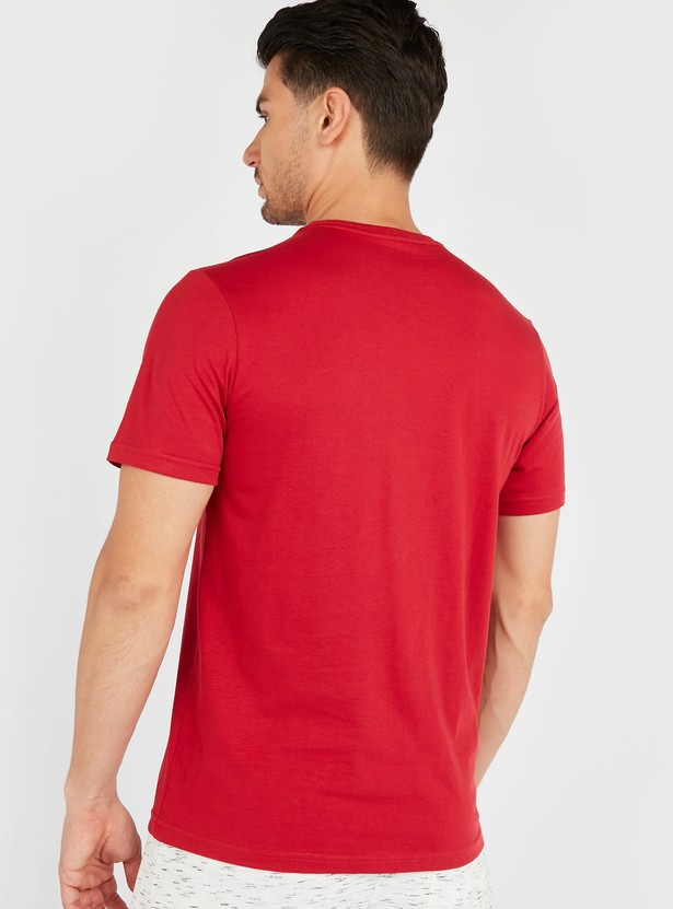 Textured T-shirt with Crew Neck and Short Sleeves