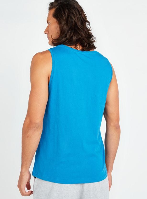 Printed Round Neck Sleeveless Vest