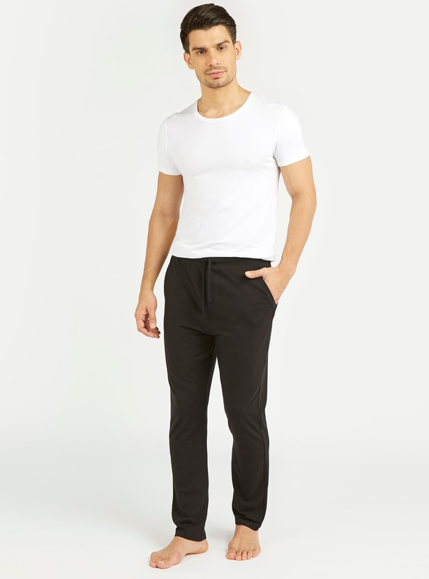 Solid Pants with Pocket Detail and Drawstring
