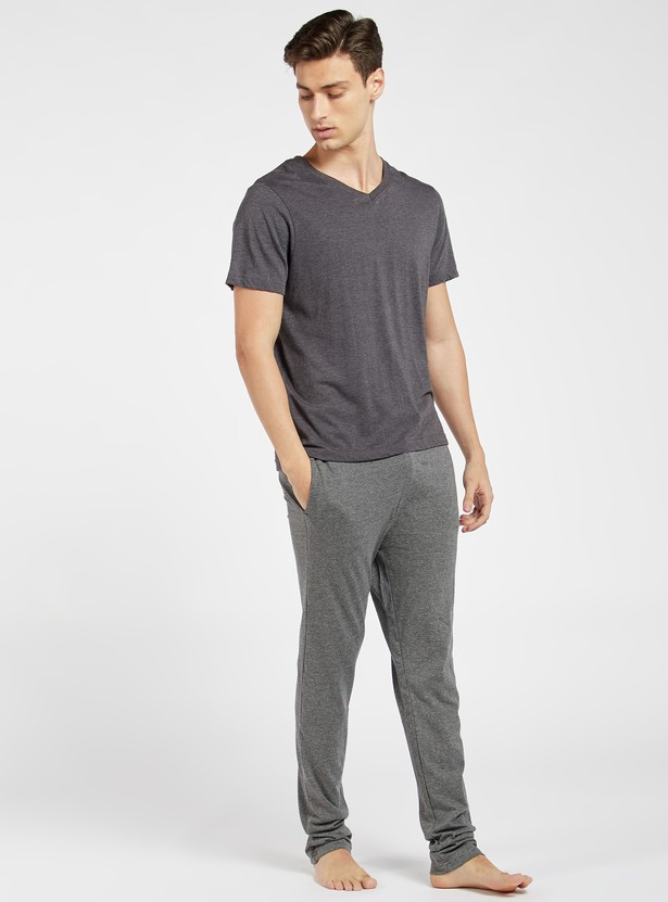 Full Length Textured Lounge Pants with Pockets and Drawstring Closure