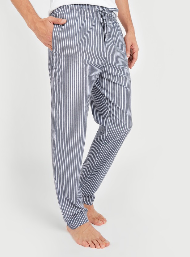 Striped Woven Pyjamas with Drawstring Closure