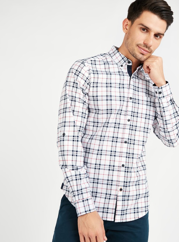 Chequered Oxford Shirt with Long Sleeves