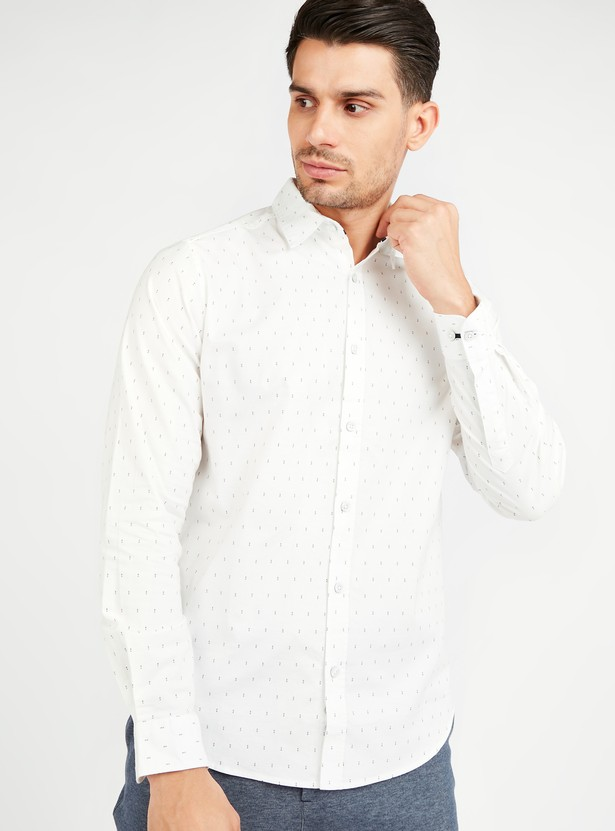 All Over Print Oxford Shirt with Long Sleeves