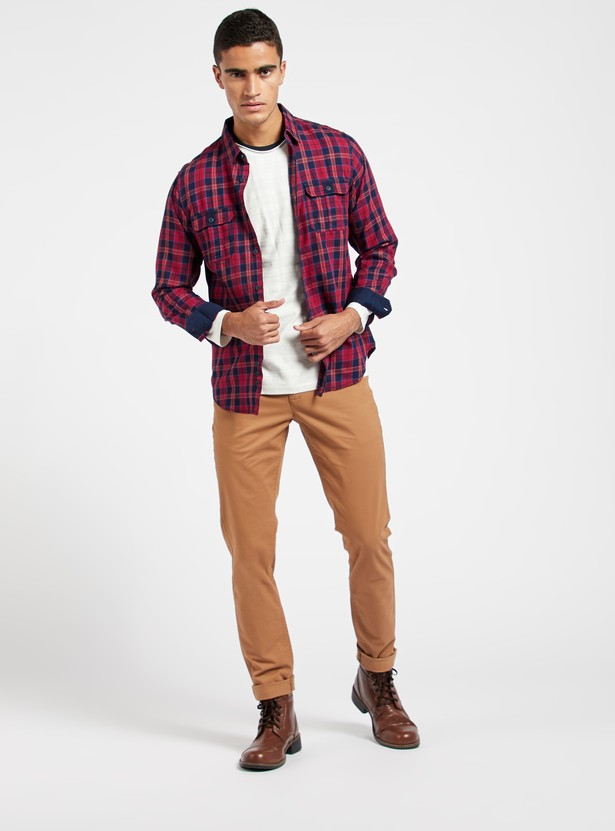 Checked Shirt with Long Sleeves and Chest Pocket