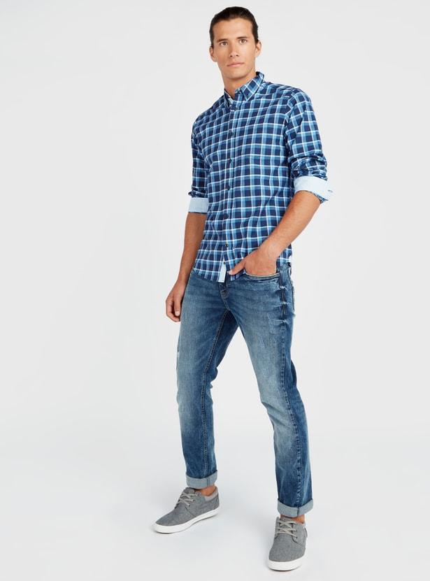 قميص أكسفورد كاروهات مطاطي بأكمام طويلة
