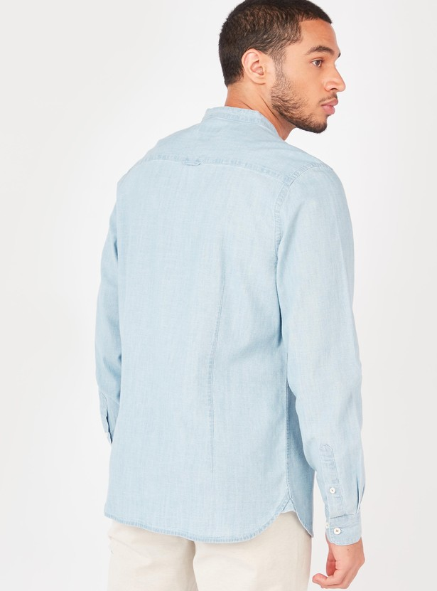 Slim Fit Textured Shirt with Mandarin Collar and Long Sleeves