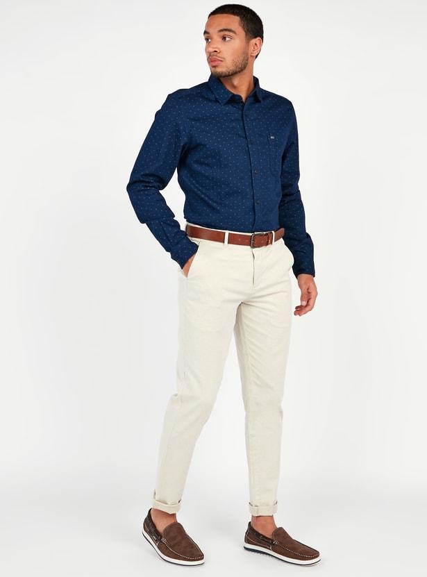 قميص سليم بأكمام طويلة وطبعات