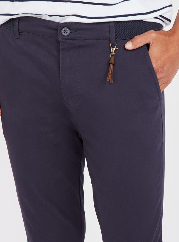Solid Skinny Fit Chinos with Pockets and Button Closure