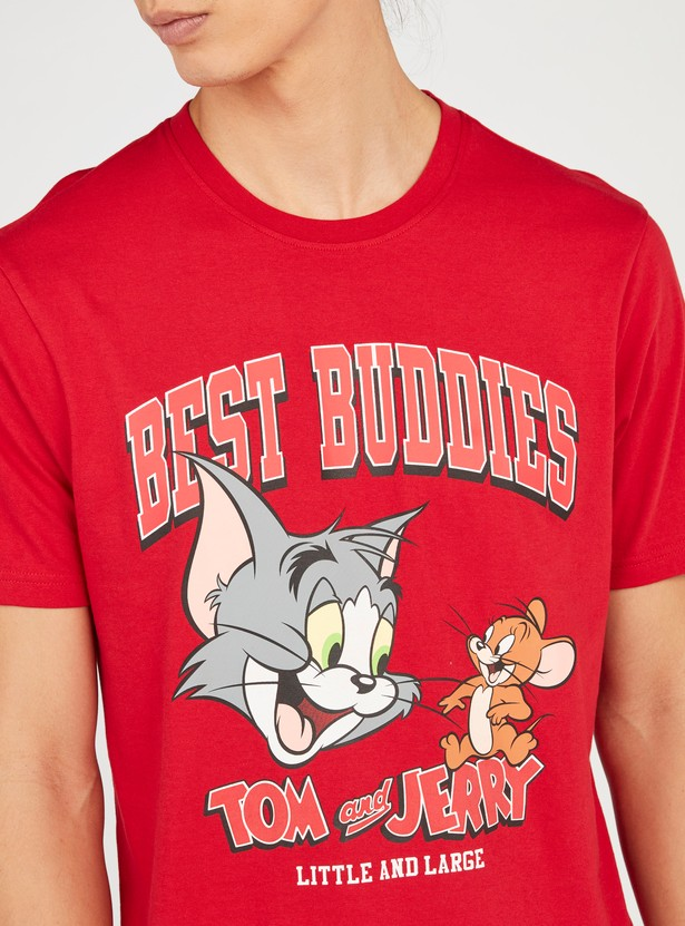 Slim Fit Tom & Jerry Graphic Print T-shirt with Short Sleeves