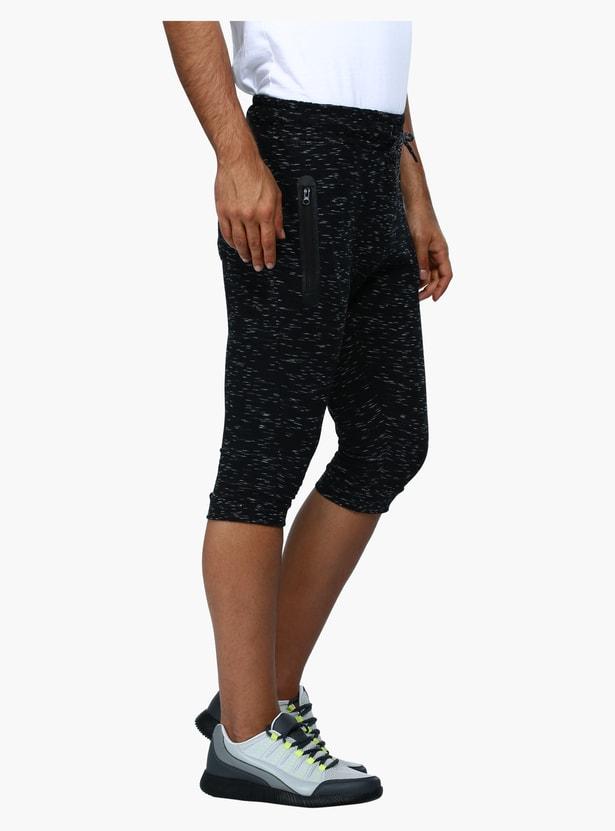 Melange Printed 3/4 Length Pants with Elasticised Waistband