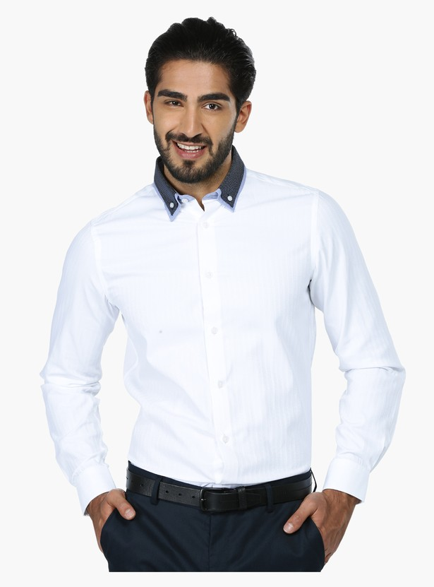 Button Down Long Sleeves Formal Shirt in Slim Fit