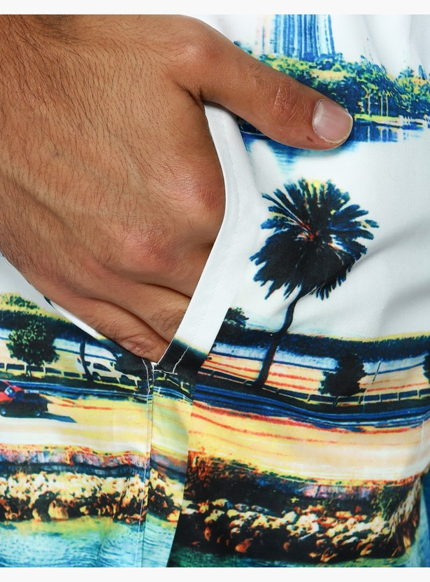 Printed Mid Rise Surfer Shorts