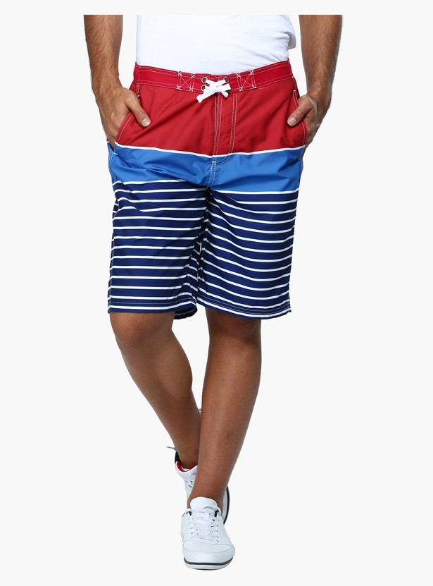 Striped Mid Rise Surfer Shorts