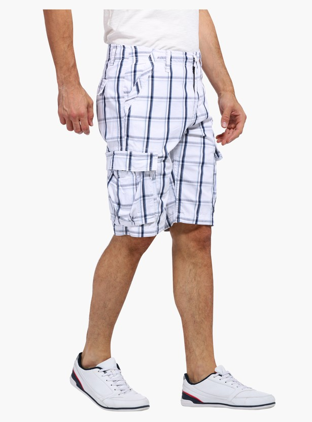 Chequered Cargo Shorts with Buttoned Closure