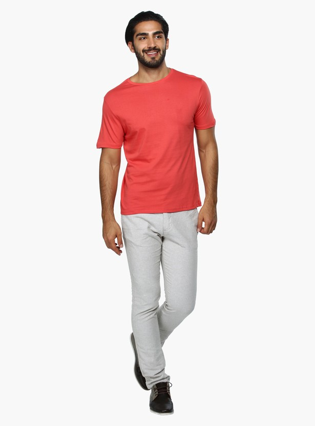 Straight Fit Mid Rise Casual Trousers