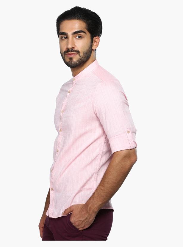 Mandarin Collar Shirt with Roll Up Sleeves