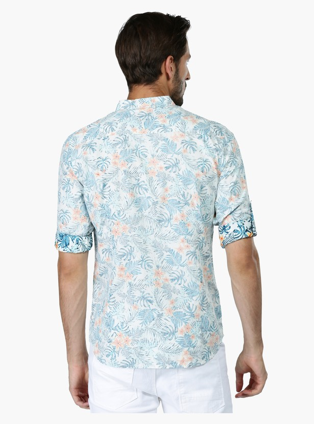 Reverse Printed Long Sleeves Shirt in Slim Fit