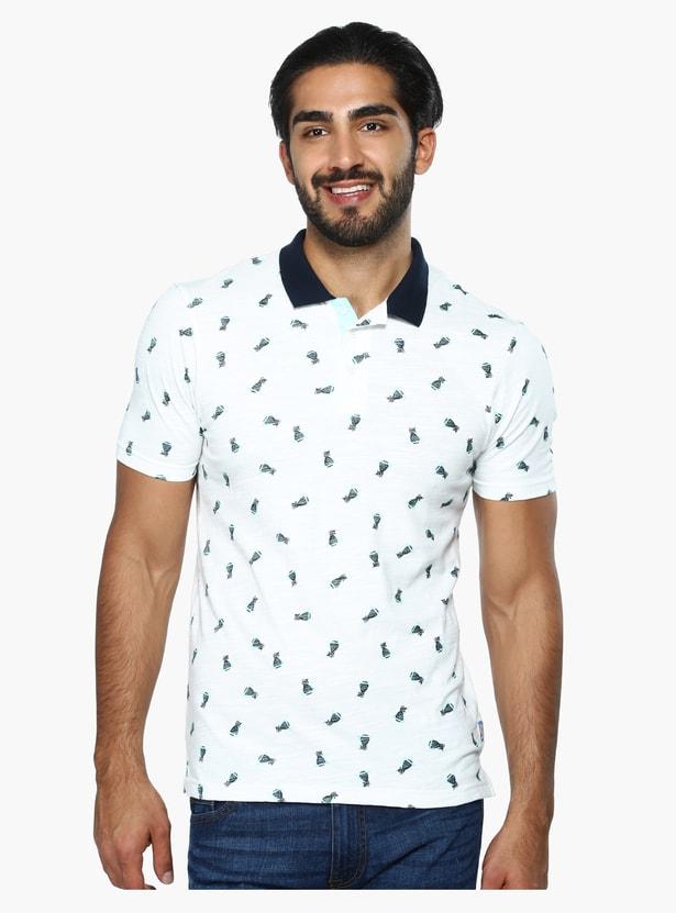 Printed Short Sleeves Polo Neck T-Shirt