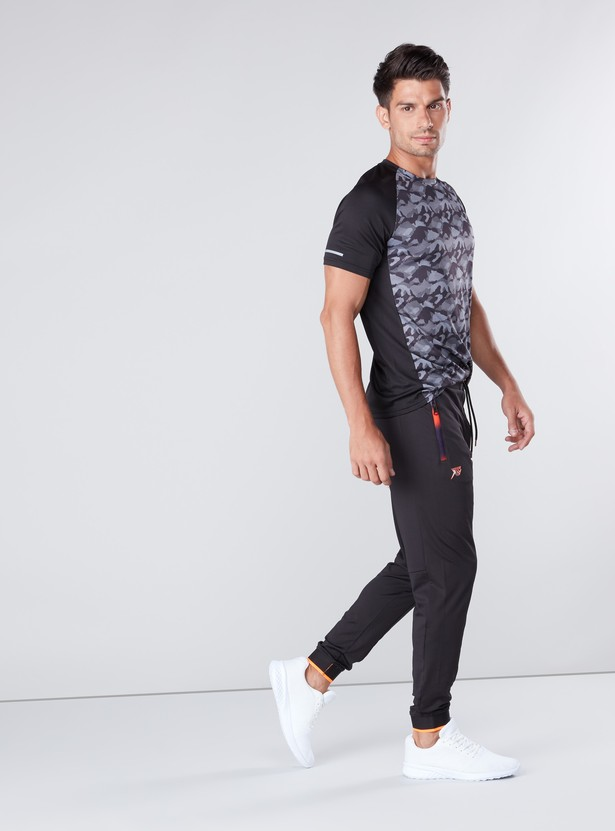 Typographic Printed Track Pants with Zippered Pockets