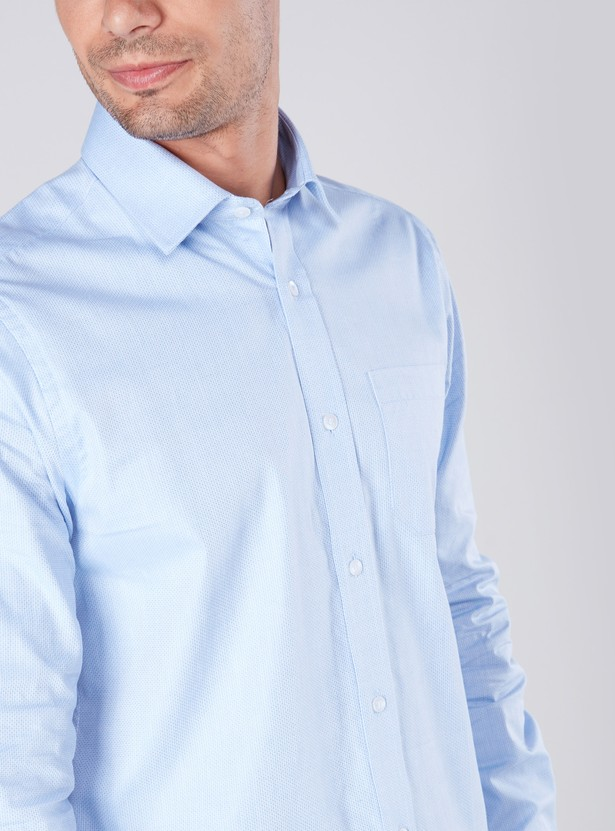 Textured Shirt with Long Sleeves and Patch Pocket