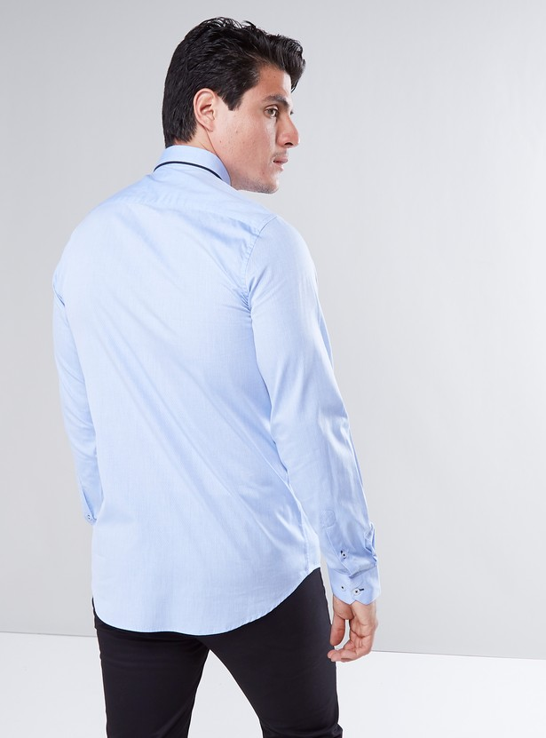 Slim Fit Formal Shirt with Button Down Collar and Long Sleeves