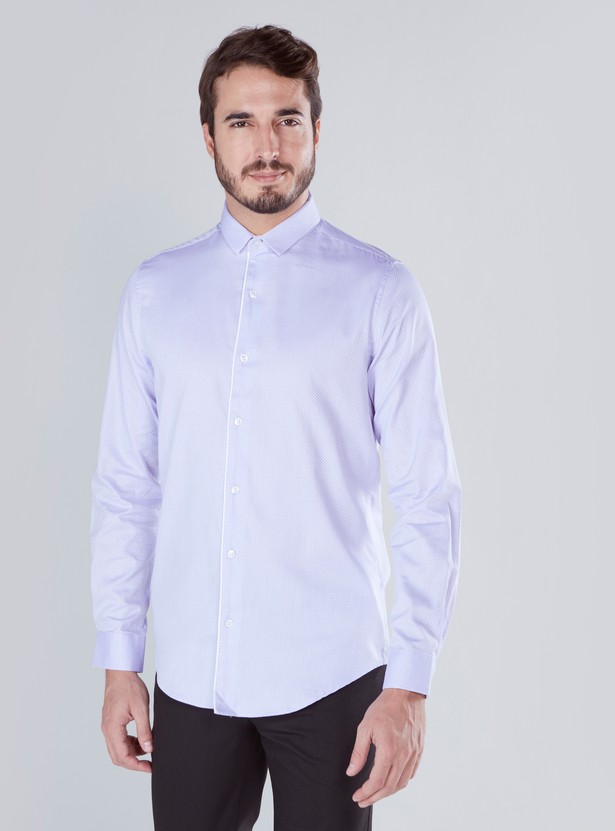 Texture Shirt in Slim-Fit with Long Sleeves