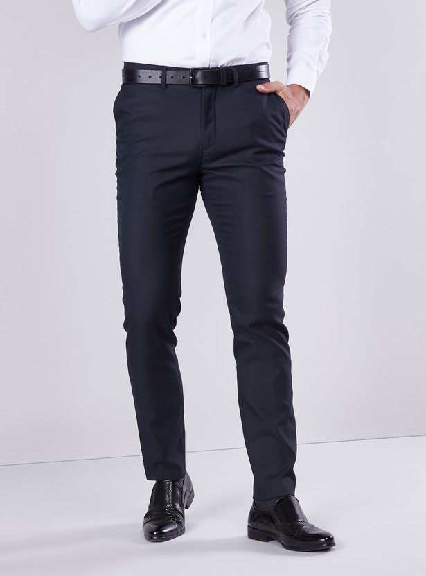 Slim Fit Solid Trousers with Pocket Detail