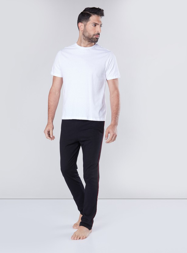 Piping Detail Lounge Pants with Drawstring Waistband