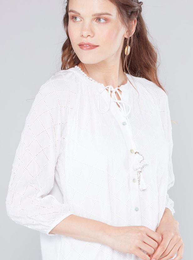 قميص شيفلي بأكمام 3/4 وأربطة