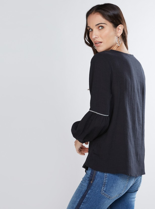 Embroidered Top with Long Sleeves and Tie Ups