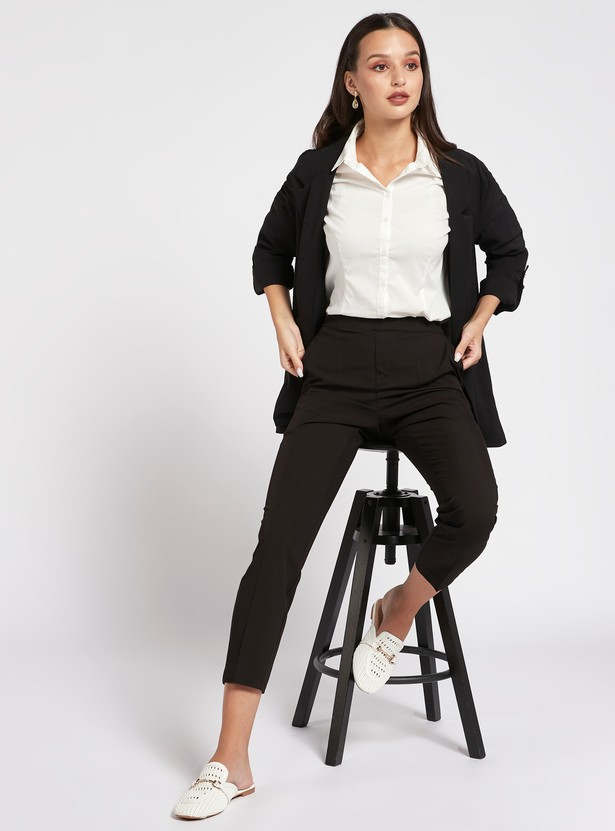 Solid Shirt with Long Sleeves and Complete Placket